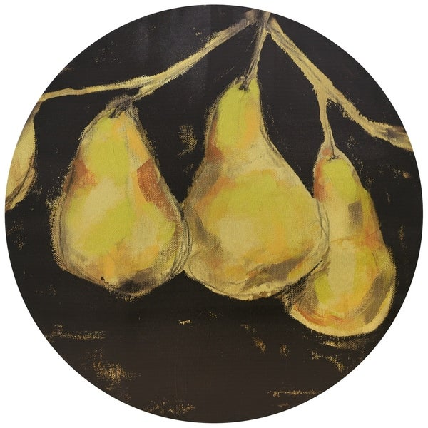 """""""Golden Pears"""" Circular Gold Canvas Printed on 2"""" Wood Wall Art - Multi"""