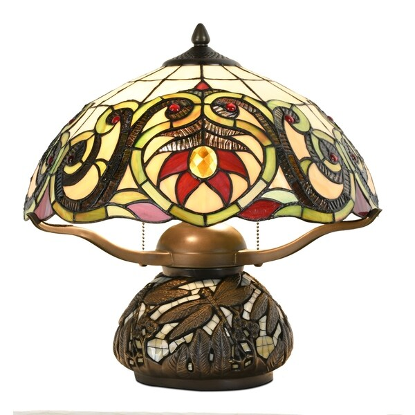Tiffany Style Pumpkin Lantern Table Lamp Victorian Dragonfly Floral Stained Glass Desk Home Decor Lighting