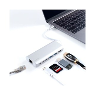 BasAcc 6 in 1 Aluminum USB 3.0 Type-C Hub w/ Multiport Adapter, 4K HDMI Output, Gigabit Ethernet, High Speed Data Transfer