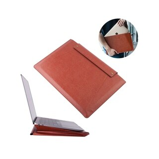 INSTEN 13.3 Inch Brown Leather Laptop Sleeve Macbook Case with Stand Function for New MacBook Pro Air iPad Pro Surface Go