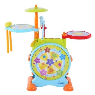 Dimple DC12749 Electric Big Toy Drum Set For Kids Comes with Microphone Pedal n Stool Pre Recorded Songs instruments music