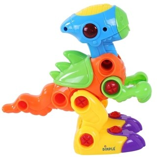Dimple DC12750 Dinosaur Take Apart Toy for Kids Educational Build Your Own Toy with Lights and Sounds, 2 Screwdrivers