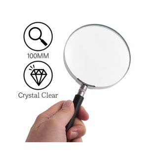 INSTEN 3X [100mm] Handheld Large Reading Magnifier with Handle, Lightweight for Reading Map, Inspection, Crossword Puzzles