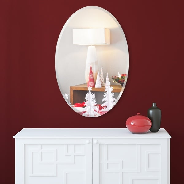Frameless Beveled Oval Wall Mirror, Ready to Hang, Bathroom Room, Vanity Mirror - Clear - 24 in. x 0.39 in. x 36 in.