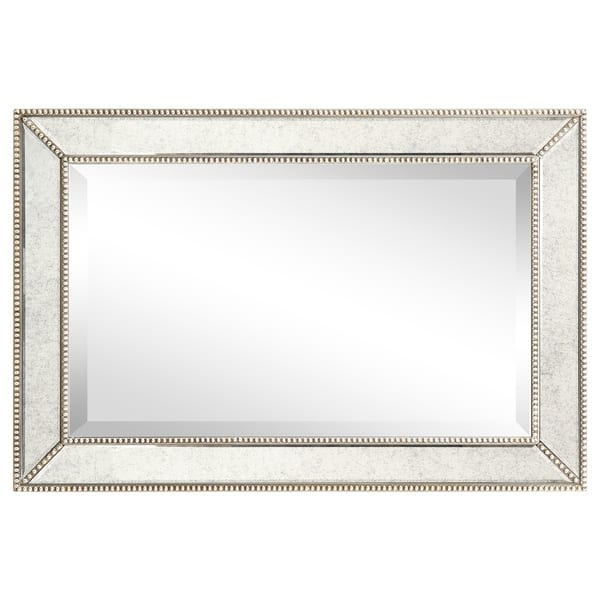 Shop Champagne Beed Beveled Rectangular Mirror Bathroom Bedroom Living Room Ready To Hang Clear On Sale Overstock 24220385