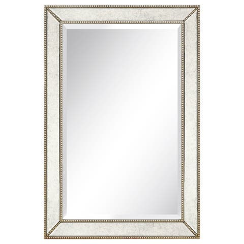 Champagne Bead Beveled Rectangular Mirror - Clear