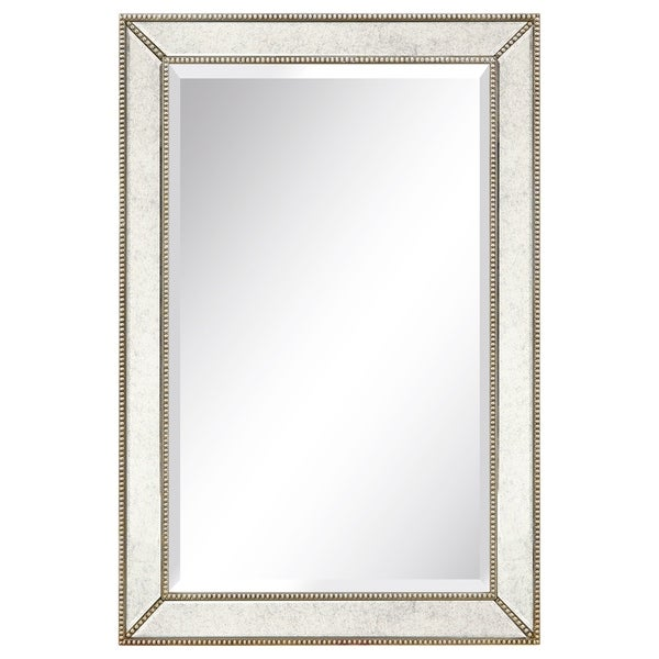Champagne Bead Beveled Rectangular Mirror - Clear. Opens flyout.