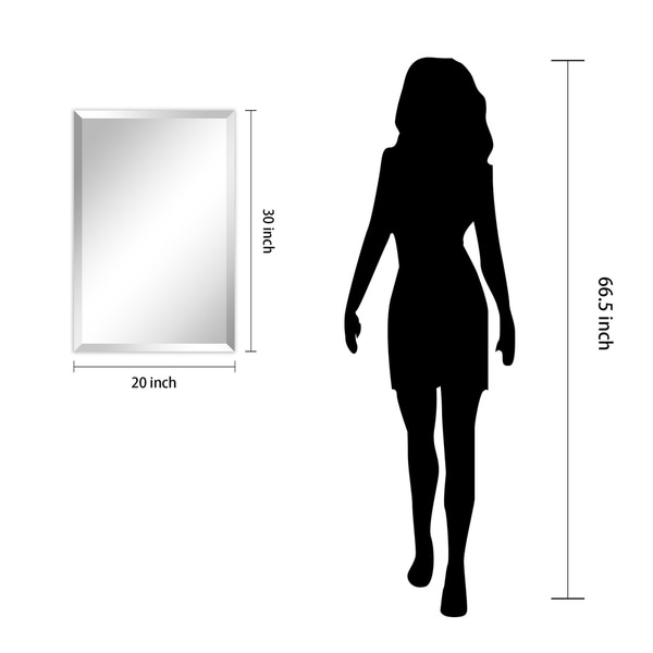 "Frameless Beveled Prism Wall Mirror, Bathroom, Vanity, Bedroom Mirror, 1""-Beveled Edge - Clear"