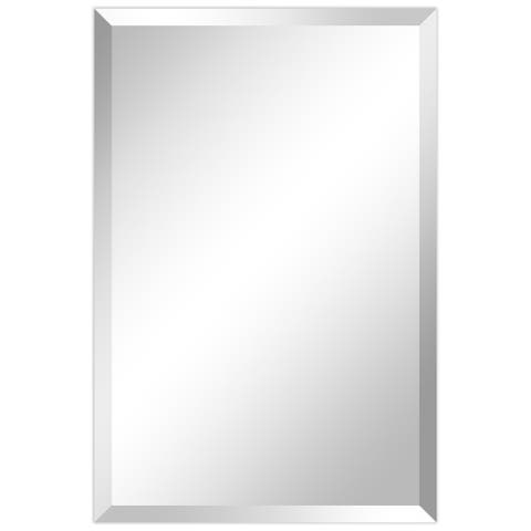 "Frameless Beveled Prism Wall Mirror, Bathroom, Vanity, Bedroom Mirror, 1""-Beveled Edge - Clear"