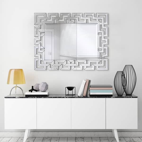 Shop Elegant Beveled Decorative Wall Mirror Bathroom Bedroom Living Room Ready To Hang Clear 31 In X 0 79 In X 40 In On Sale Overstock 24220395
