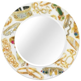 "36"" Square Reverse Printed Tempered Art Glass with 24"" Round Beveled Mirror - Clear - 36 in. x 0.4 in. x 36 in."