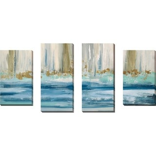 """Mountain Water II"" by Susan Jill Print on Canvas Set of 4 - Blue"