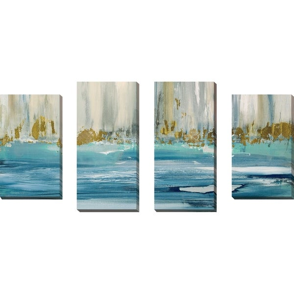 """""""Mountain Water I"""" by Susan Jill Print on Canvas Set of 4 - Blue"""
