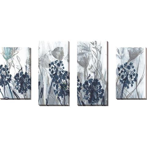 """Indigo Field"" by Susan Jill Print on Canvas Set of 4 - Blue"