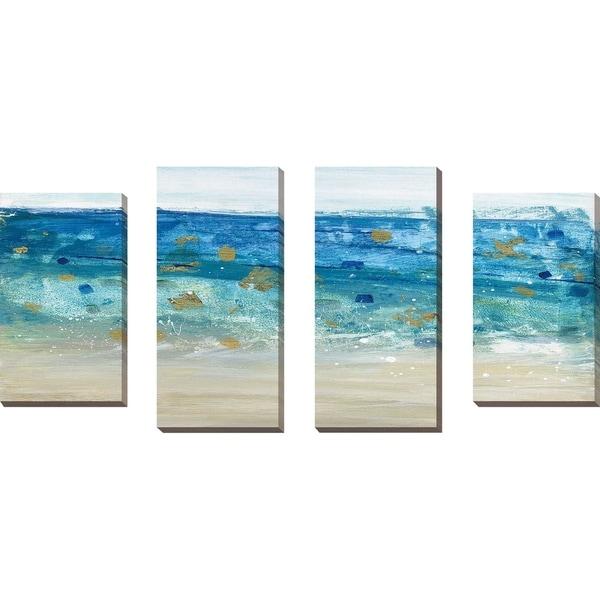 """Sea Glass Summer II"" by Susan Jill Print on Canvas Set of 4 - Blue"