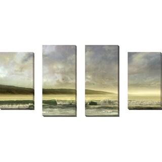 """Soft Horizon"" by Mike Calascibetta Print on Canvas Set of 4 - gray"