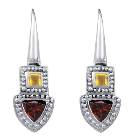 Garnet, Citrine Sterling Silver Trillion Dangle Earrings by Orchid Jewelry