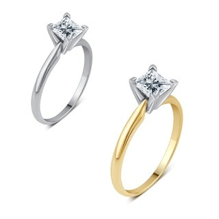Divina 14KT Gold 1 1/2ct TDW Certified Princess Diamond Solitaire Engagement Ring