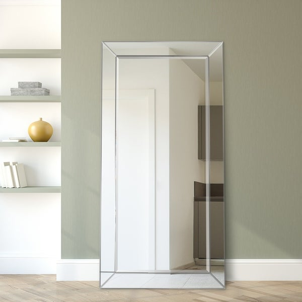 Moderno Beveled Leaner Wall Mirror, Bathroom,Bedroom,Living Room,Ready to Hang - Clear