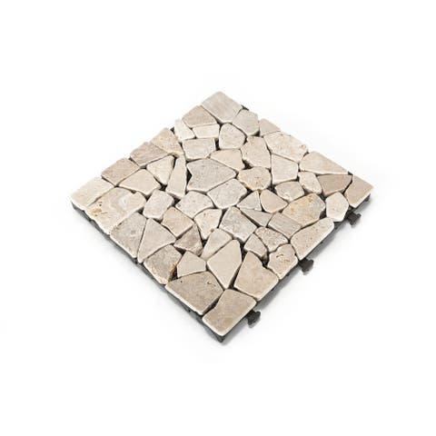 Courtyard Casual Natural Travertine Stone White Deck Tile, 6 pc Set