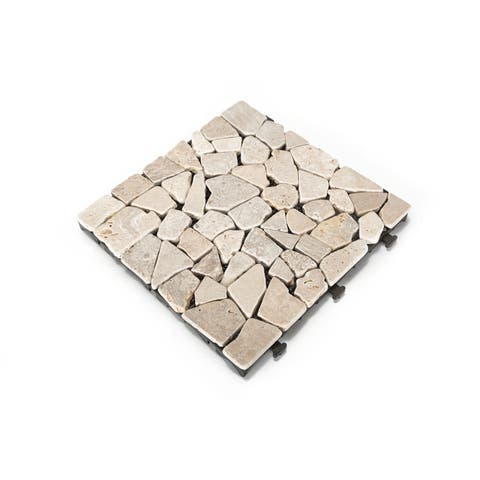 Courtyard Casual Natural Travertine Stone White Deck Tile, 6 pc Set