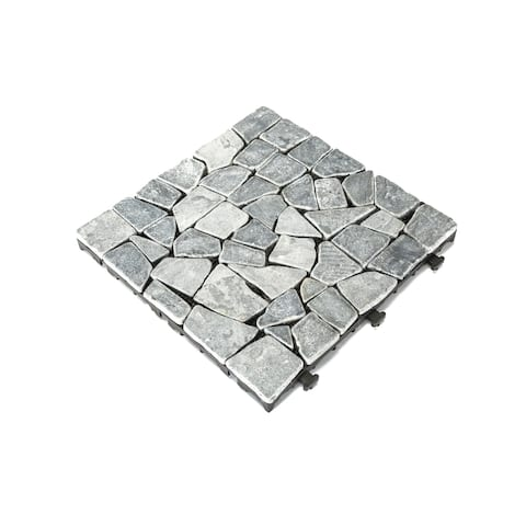 Courtyard Casual Natural Grey Travertine Deck Tile (Set of 6)