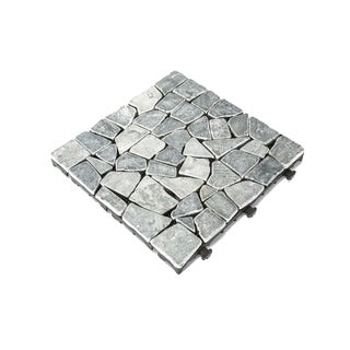 Courtyard Casual Natural Tavertine Stone Gray Deck Tile, 6 pc Set