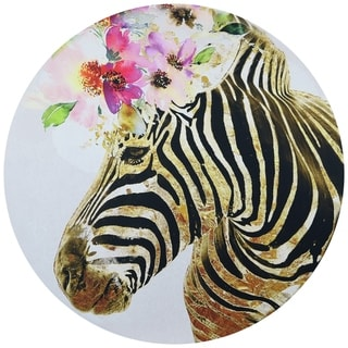 """Beatuiful Zebra"" Circular Canvas Printed on 2"" Wood Wall Art"
