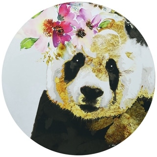 """Beautiful Panda"" Circular Canvas Printed on 2"" Wood Wall Art"