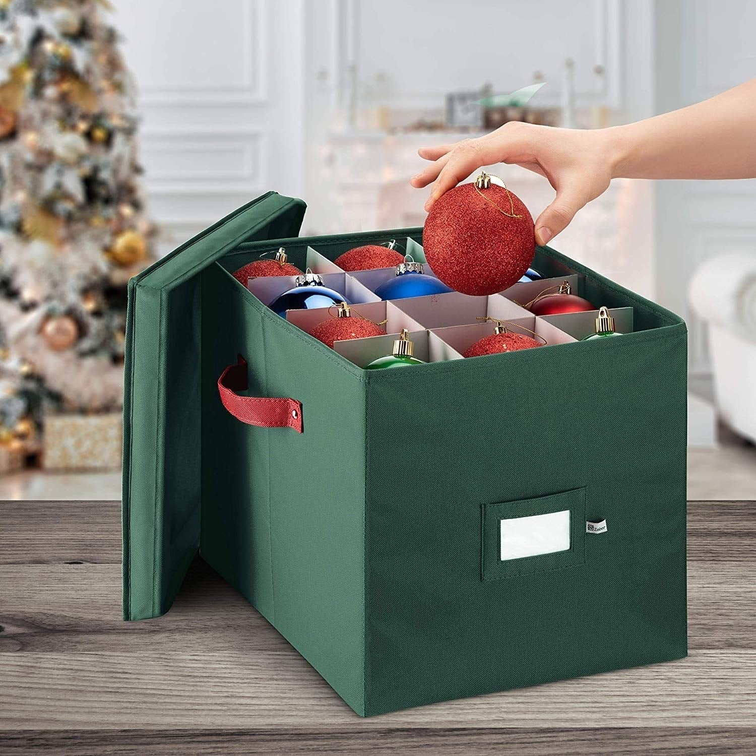 Premium Christmas Ornament Storage Box for Large Ornaments Storage Container Hold 36 Holiday Ornaments and Xmas Decorations Accessories/—Tear-Proof 600D Oxford 4-inch Compartment