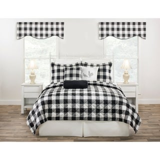 Cottage Classic Plaid Quilt mini Set (shams included) in black, blue or yellow