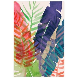 "Empire Art""Electric Palms 1"" Frameless Tempered Art Glass Wall Art - Multi-color"
