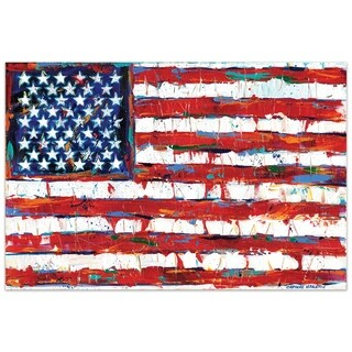 "Empire Art""Dramatic Stars & Stripes"" Frameless Tempered Glass Wall Art - Multi-color"