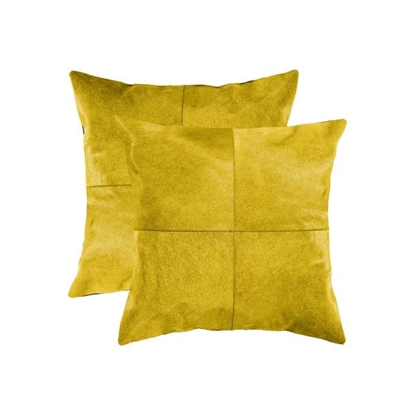 "2-Pack Torino Quattro Cowhide Pillow 18""X18"" - Yellow"