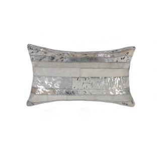 "Torino Madrid Cowhide Pillow 12""X20"" - Grey & Silver"