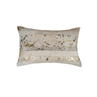 """Torino Madrid Cowhide Pillow 12""""X20"""" - Natural & Gold"""