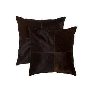 "2-Pack Torino Quattro Cowhide Pillow 18""X18"" - Chocolate"