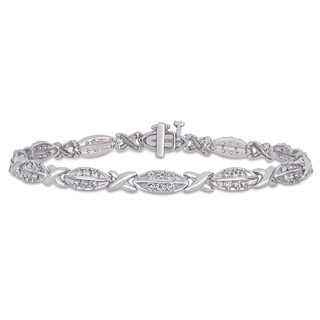Miadora 10k White Gold 1 2/5ct TDW Diamond X-O Tennis Bracelet