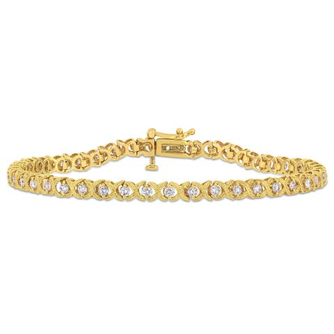 Miadora 10k Yellow Gold 1 1/3ct TDW Diamond Criss-Cross Tennis Bracelet