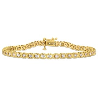 Miadora 10k Yellow Gold 1 1/3ct TDW Diamond Criss-Cross Tennis Bracelet