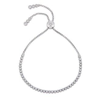 Miadora 14k White Gold 1 1/6ct TDW Diamond Adjustable Bolo Bracelet