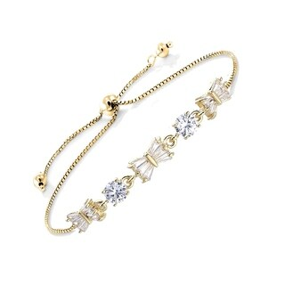 18k Yellow Gold Plated Adjustable Bowtie Bracelet With Clear Elements