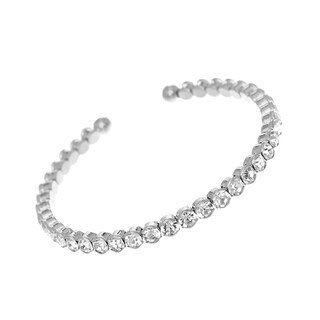 Rhodium Plated Adjustable Tennis Bangle With Clear Elements