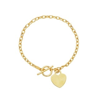 14K Solid Gold Toggle Link Chain Bracelet With A Heart Pendant