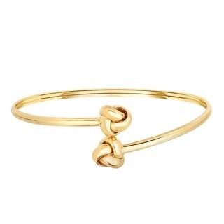 14K Solid Gold Love Knot Slip On Bangle