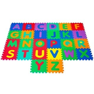 Interlocking Foam Tile Play Mat with Letters Nontoxic Multicolor Tiles by Hey! Play!