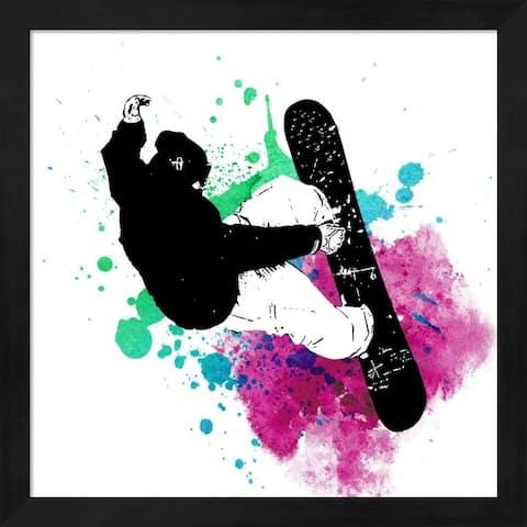 Sports Mania 'Snowboarder Watercolor Splash Part III' Framed Art