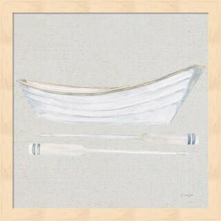 James Wiens 'Serene Seaside I Tan' Framed Art