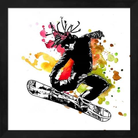 Sports Mania 'Snowboarder Watercolor Splash Part I' Framed Art