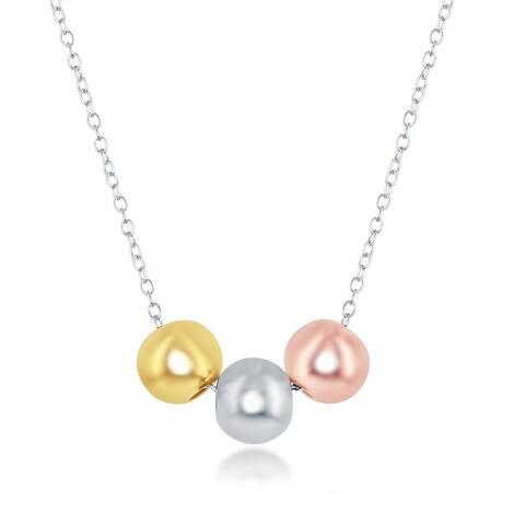 La Preciosa Sterling Silver Italian Tri-Color Beads 16+2'' Necklace